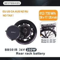 BAFANG motor BBS01B BBS01 250 w 36v17ah/20.4ah rack trasero kit de batería elektrische fiets elektrikli bisiklet bicicleta electrica