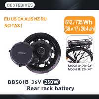 Motor BAFANG bbbbs01 250 w 36v17ah/20.4ah kit de batería de bastidor trasero