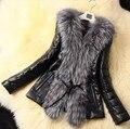 Европейский Станция 2016 женщины новое прибытие мода фокс меховым воротником пальто куртки пуховик кожа шуба бесплатная доставка
