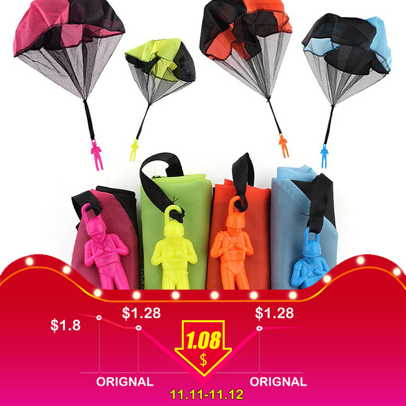 Hand Throwing Kids Mini Play Parachute Toy Soldier Outdoor Sports Children\'s Educational Toys Free Shipping free soldier черный маленький
