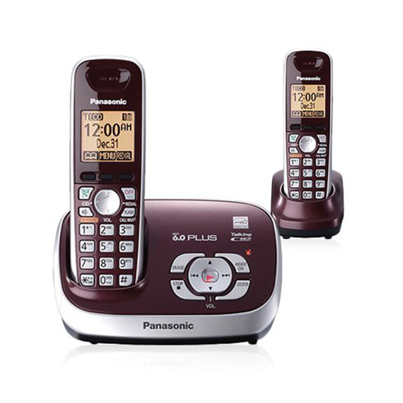 DECT 6 0 Plus Expandable Digital Cordless Phone Answering System with 2 Handsets Wine Red