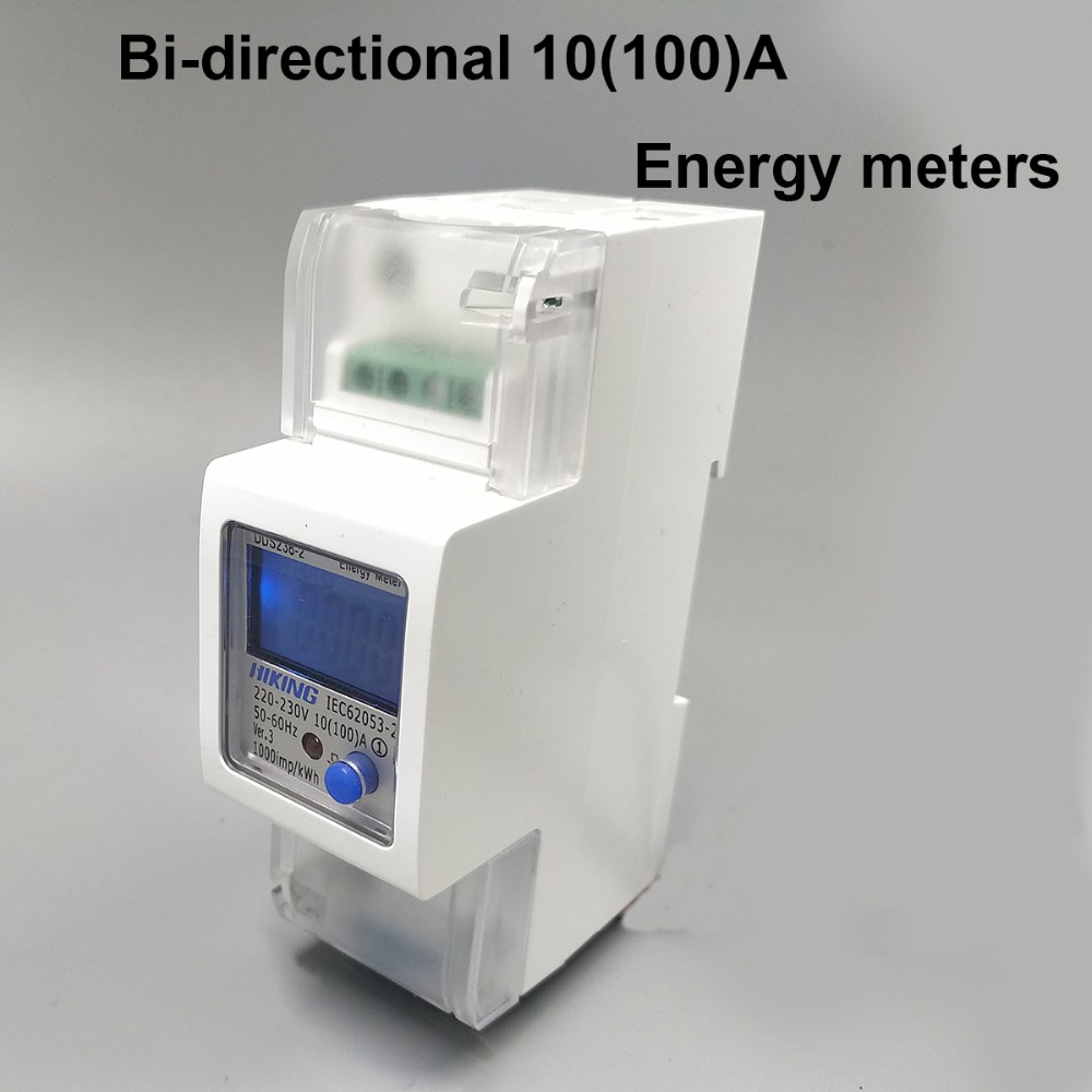 10 (100) A 230 V 220 V 50Hz 60Hz 100A bidireccional monofásico activo energía importación exportación kwh Din rail Watt hora medidor de energía