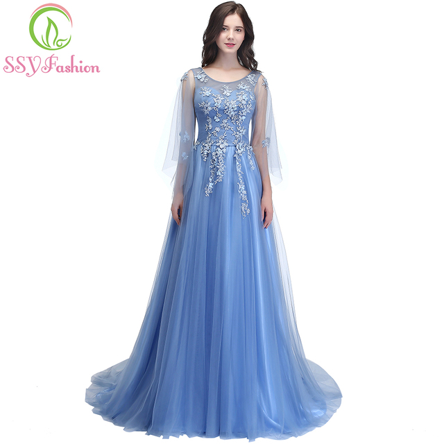 SSYFashion New Elegant Lace Flower Evening Dress Romantic Appliques with  Streamer Long Prom Party Gown Robe De Soiree 4 Colors 11bf831a34ad