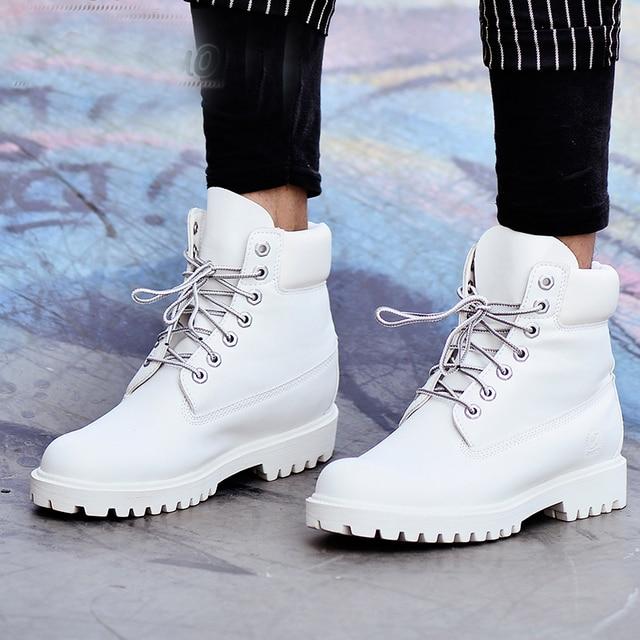 2018 أزياء الخريف الشتاء جلد الرجال الأحذية منصة الأحذية السوداء عارضة الأبيض المطاط منتصف العجل الرجال يعملون زائد حجم 39-45