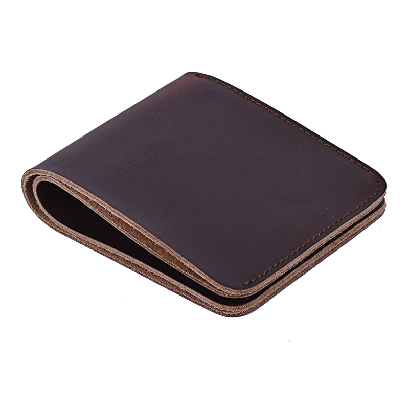 Klsyanyo Men Genuine Leather Wallet Bifold Purses Crazy Horse Wallet Vintage Short Slim Wallet Carteira Masculina Card Holder crazy horse leather billfolds wallet card holder leather card case for men 8056r 1