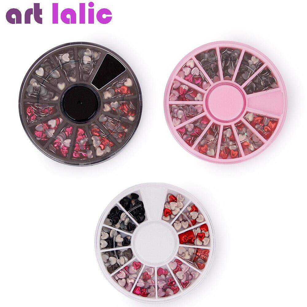 1 Wheel Heart Design 3D Nail Art Decorations in Wheel Mixed Color Rhinestones Manicure DIY Nail Art Accessories