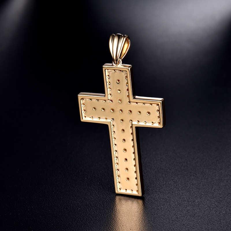 Мода Хип-Хоп рок крест кулон Твердые 14 К желтого золота цвета драгоценные камни подвеска Бриллиантовая без ожерелья цепь вечерние ювелирные изделия