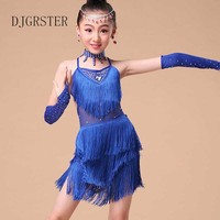 New 2016 Sequin Fringe Blue Pink Red Salsa Dress Child Girls Kids Latin Dresses Girls Latin