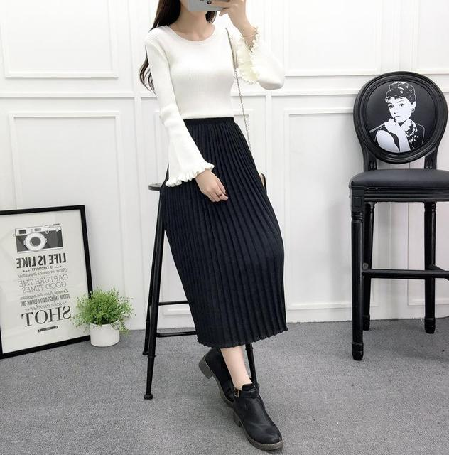 58fa6ac310 Women Knee-Length Pleated Skirt Fashion 2017 Faux Suede Leather Elestic  Waist Casual Female Saias