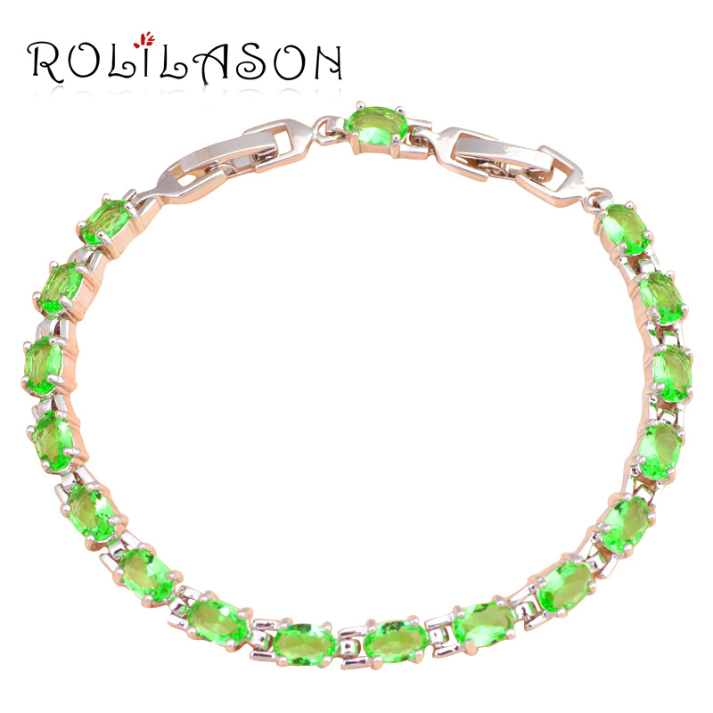Popular design font b beautiful b font bracelets brand Silver plated AAA Zirconia Green Crystal font