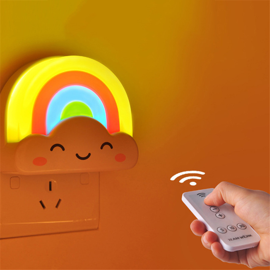 BLYN Rainbow LED Night Light IR Remote Controller Dimable Lamp Cute Baby Children Lights Wall Plug in EU US Adapter