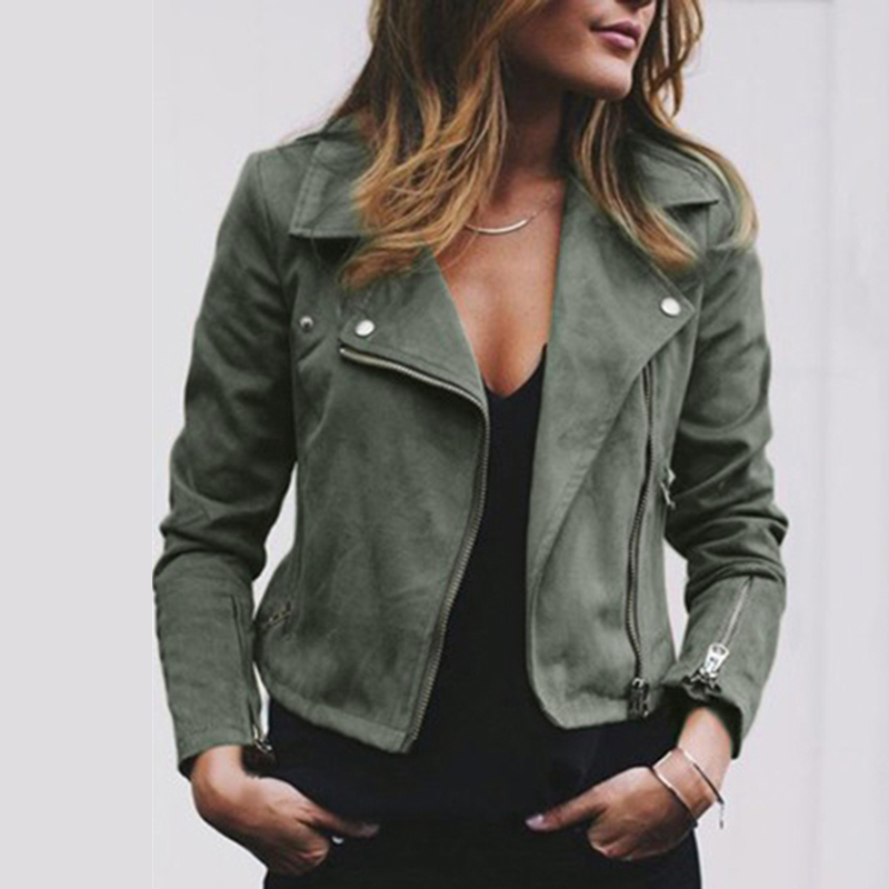 Women Fashion Jacket Coats Zip Up Biker Flight Casual Tops Coat Outwear Autumn Turn-down Collar Ladies Slim Fit Jackets 12