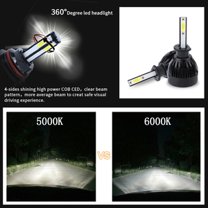 Image 3 - H11 led h7 H1 H3 H11 9005 9006 hb3 hb4 5202 D2 9012 H1R2 auto 4 side led cob h7 Car Light Bulb lamp 12V headlamp headlight 6000k