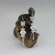 Drop Tassel 999 Sterling Silver Earrings Women Earing Chinese Lantern Butterfly Handmade Ethnic Jewelry Luxury Gift New Year цена