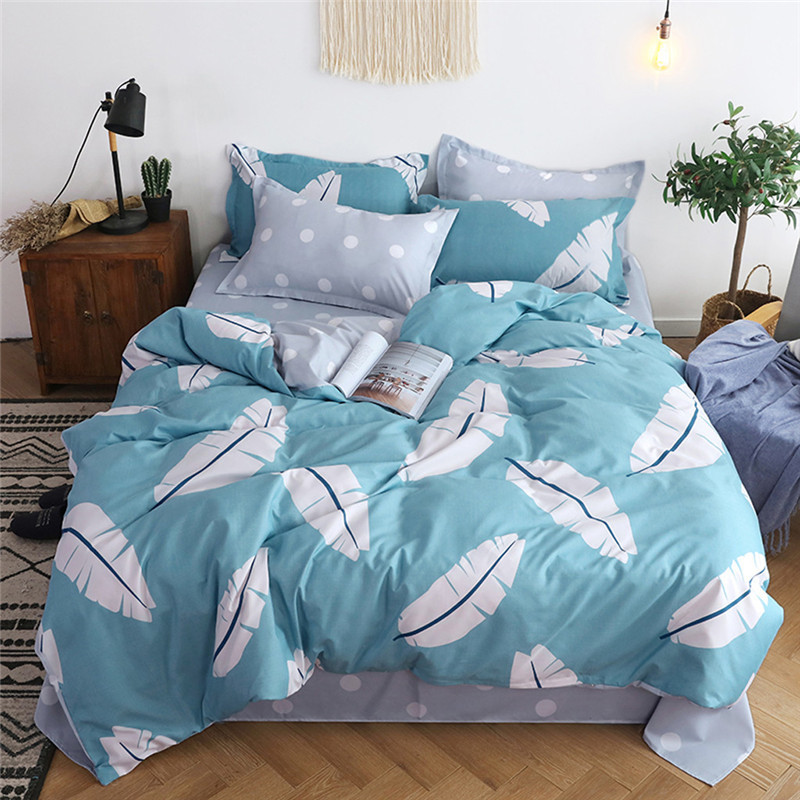 Four Piece Quilt Cover, Full Size Pillowcase With Fallen Leaves Sky Blue motifs infused with modern concepts  fitted sheet set-in Bedding Sets from Home & Garden