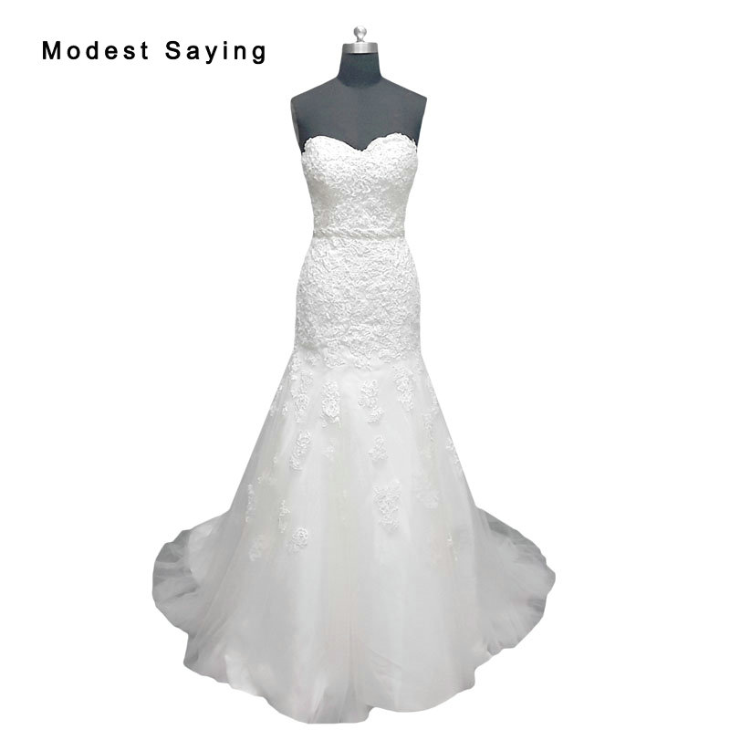 Real Photo White Elegant Mermaid Sweetheart Lace font b Wedding b font Dresses 2017 with Beaded