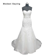 Real Photo White Elegant Mermaid Sweetheart Lace Wedding Dresses 2017 with Beaded Sashes Formal Women Long Bridal Gowns LW1