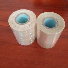 Due rotoli Trasparente olografica foglio di stampa a Caldo foglio di stampa a caldo su carta o di plastica 8 centimetri x 120m di calore stampa a caldo pellicola