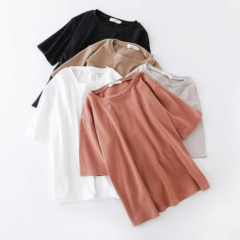 f0805aa25e563 ... Yienws Korean Style Loose Tee Shirt Femme Ladies Solid Color Plain  Summer Short Sleeve O-