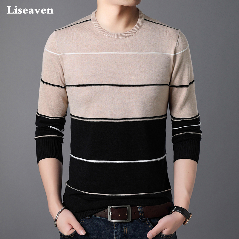 Liseaven Men Sweaters O-Neck Pullovers Casual Pullover Male Cashmere Sweater Mens Clothing Pull Homme