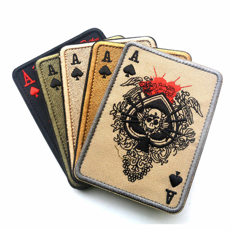 Cavalryman Ace of Spades Embroidered Patch Death Card Rectangular Tactical Army Morale BADGES Stripes Clothes stickers military