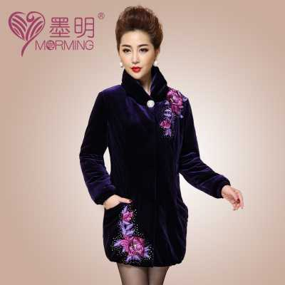 Winter Coat Women Fashion Embroidery Md-Long Slim Pullovers Middle-Aged Plus Size Pleuche Coat Parkas Plus Size M-5XL A4012