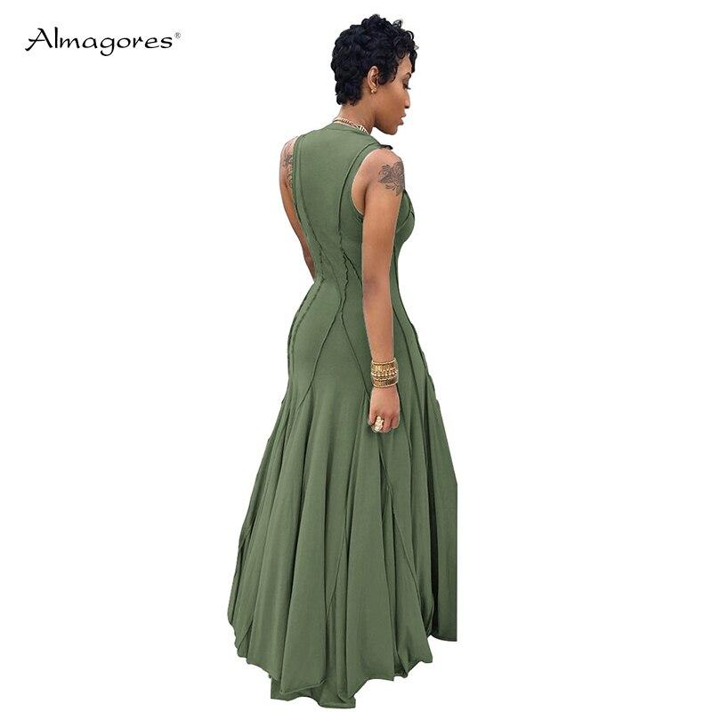 2018 Rouge Longue Maxi army Noir Robe Boho Noir Femme Robes Sexy orange Green Sans Femmes bleu gris Manches Casual Réservoir Plage Vert D'été R8fxwzx5qn