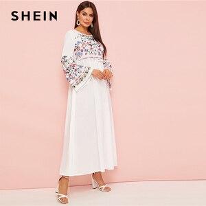 Image 2 - SHEIN Abaya Flower Embroidered Frilled Trim Bell Sleeve Dress Women Spring Autumn Maxi White Dress Loose A Line Elegant Dresses
