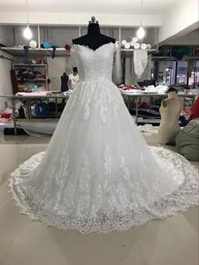 Image 4 - Vestido de novia De 2019, vestidos de Boda De Princesa, Vestido de novia De encaje con aplique para hombro, Vestido de novia De novia