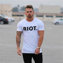 Summer Men Gyms Brand t shirt Fitness Workout Cotton Slim T-Shirt Man Short Sleeve Tops Male Casual Fashion Printed Tee clothing