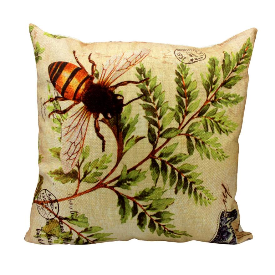 Ouneed New Arrival 2017 Creative Healthy Cushion Cover Leaves Pattern Cotton Linen Square Home Decor Home Office Hotel Car Use