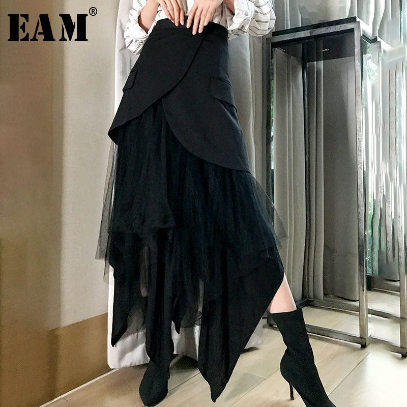 [EAM] 2020 New Spring High Waist Black Irreular Mesh Split Joint Loose Half-body Skirt Women Fashion Tide All-match JK098