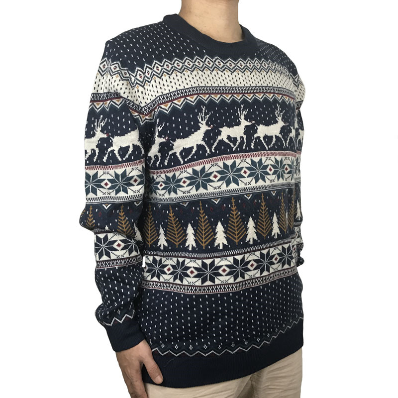 Funny Light Up Ugly Christmas Sweater for Men and Women Navy Blue Male Xmas Pullover Jumper Reindeer Patterned Plus Size S-4XL 3