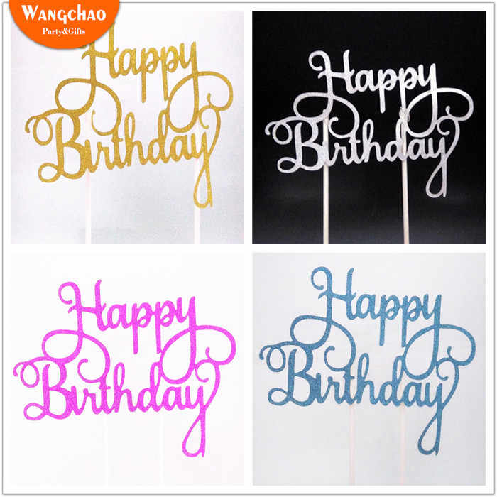 Bolo bandeira cupcake toppers decorações de festa de aniversário crianças bolo topper feliz aniversário cupcake toppers festa de aniversário suprimentos