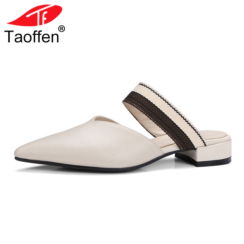 TAOFFEN Genuine Leather Low Heel Pointed Toe Sandals Slip On Fashion Shoes Women Summer Slides Women Slippers Mules Size 33-41 гироскутер hoverbot b 1 a 7 black blue