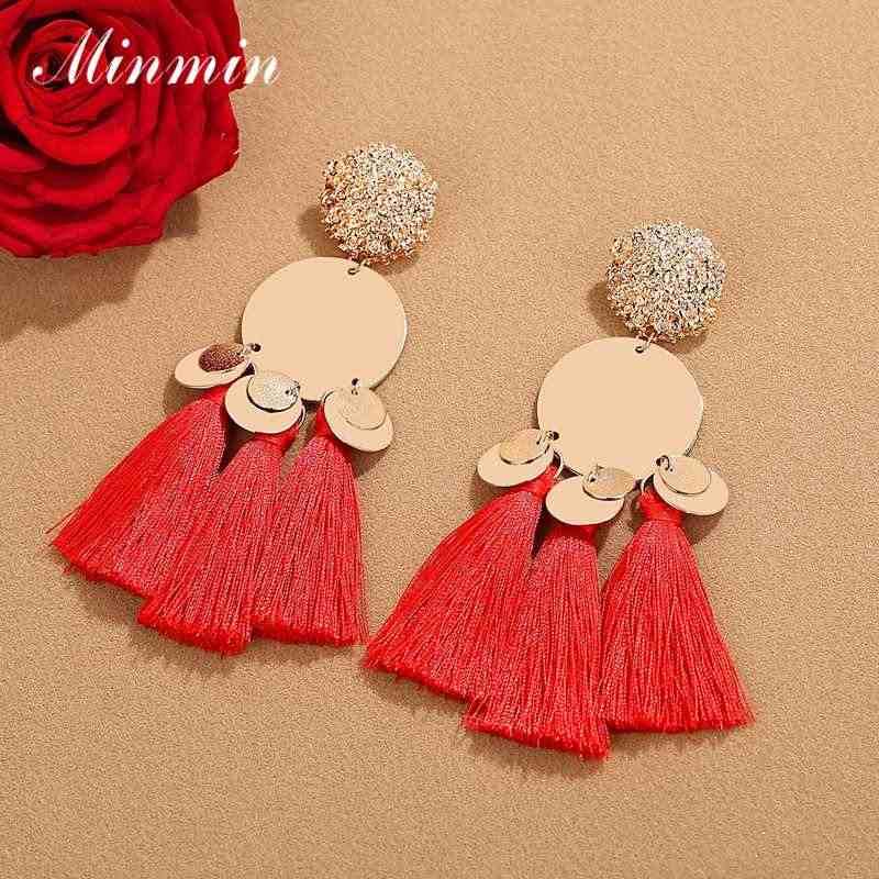 Minmin Vintage Ethnic Long Tassel Earrings for Women Bohemian Gold Color Metal Fringe Drop Earrings Fashion 2019 Jewelry MEH1485