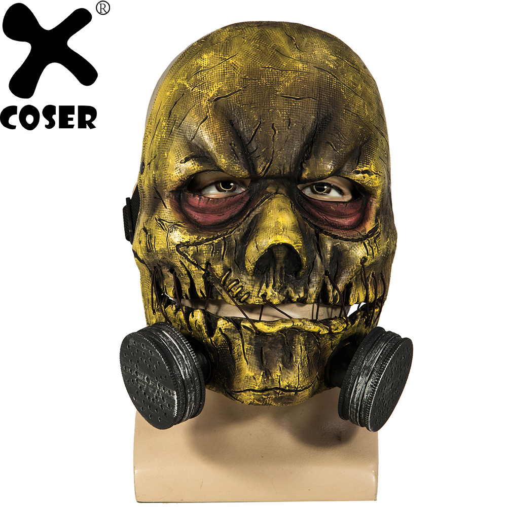 XCOSER Hot New Batman Arkham Knight Scarecrow Mask PVC Half Face Mask With Adjustable Buckle Adult Scary Halloween Party Mask