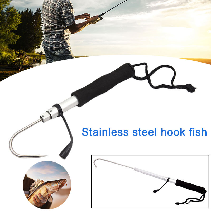 High Quality Ice Fishing Gaff Hook Telescopic Fish Gaff Stainless Fishing Spear Hook Hand Gaffs NCM99