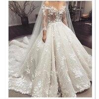 Eslieb 2019 3D Цветы Жемчуг Бусины свадебное платье бальное платье, свадебное платье телесного цвета сетки 3/4 рукава Длинный Шлейф Кнопка назад