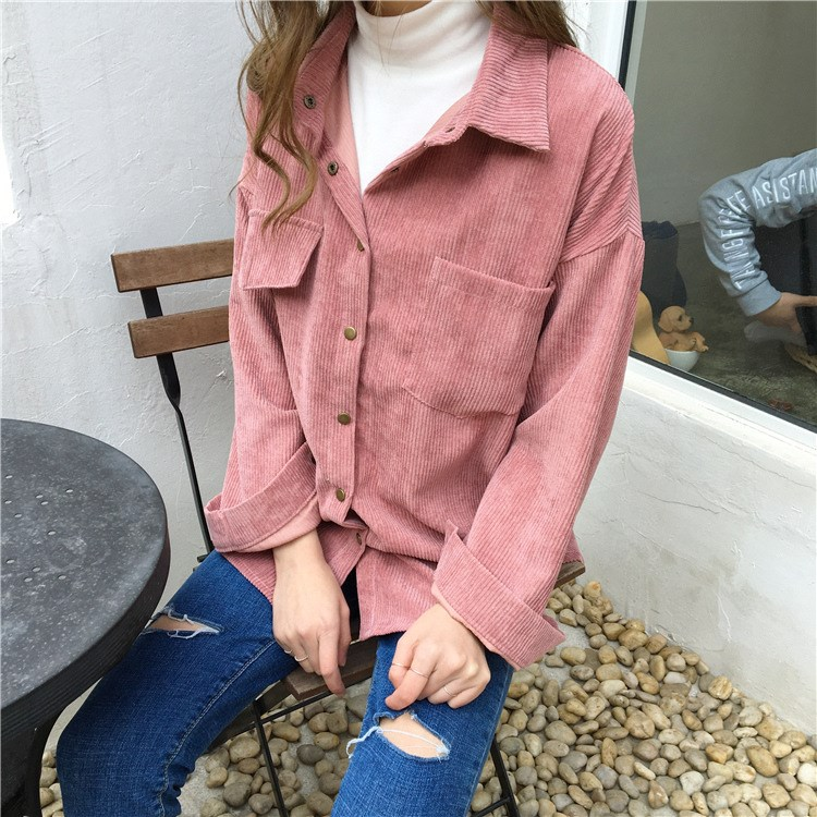 2 Colors 2018 Autumn Women Loose Jackets Korean Long Sleeve Corduroy Jackets Outwear Casual Pocket Solid Jackets in Jackets from Women 39 s Clothing