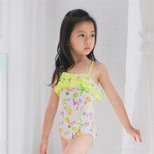 New Model Kid Girls One Piece Swimsuit 2-6 Y Baby Girl White with flower Swimwear Children wear Sling Swim Suit Bathing suits