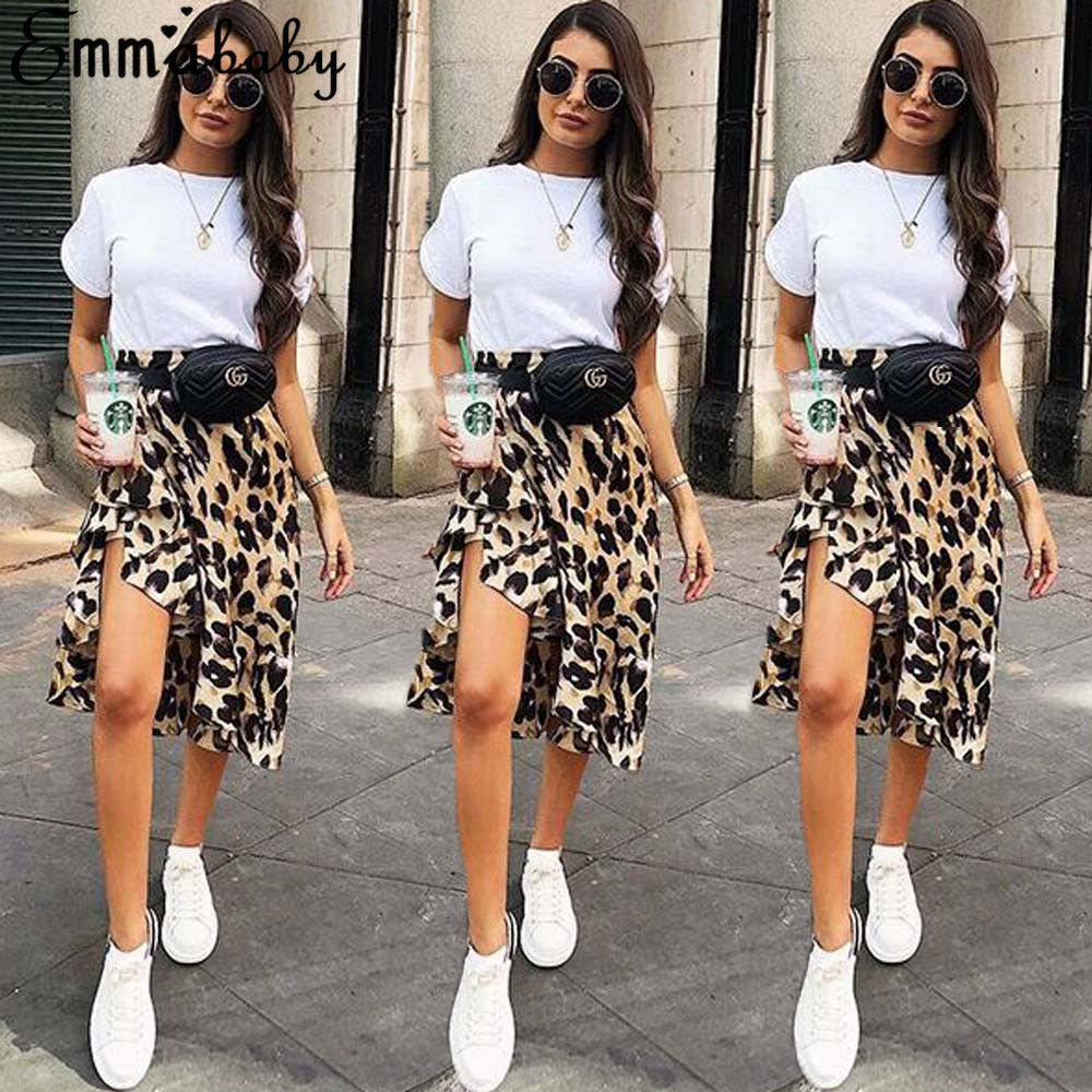 Women Leopard Print High Waist Skirt With Sashes 2018 New Lady Sexy Fashion Office Work Skirts Summer Autumn Slit Skirt
