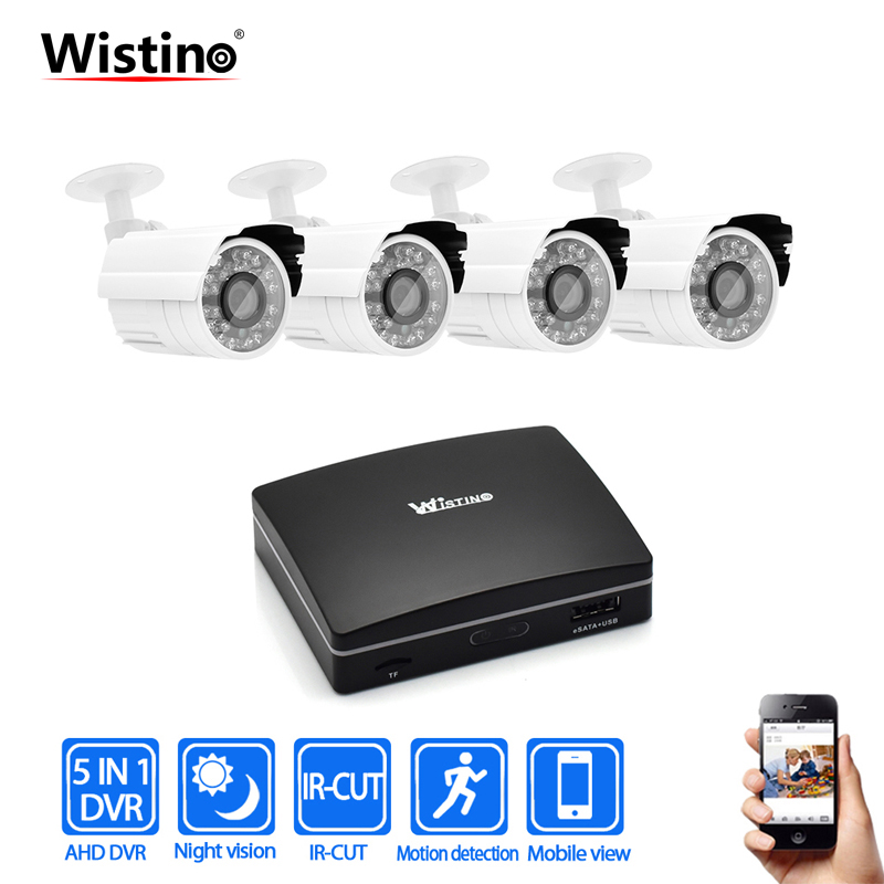 Wistino 1080P Analog Camera Kit CCTV Mini DVR Camera Kits 4CH Digital Video Recorder DVR AHD Camera Video Monitor Surveillance ikonbit tv hunter analog recorder u55