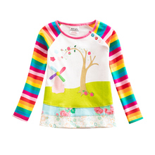 Girls Long Sleeve T-Shirt Embroidered Cotton Autumn Rainbow Sleeve Girls 2~8 Years Old Children Wearing Long Sleeve Tops T-Shirt недорого