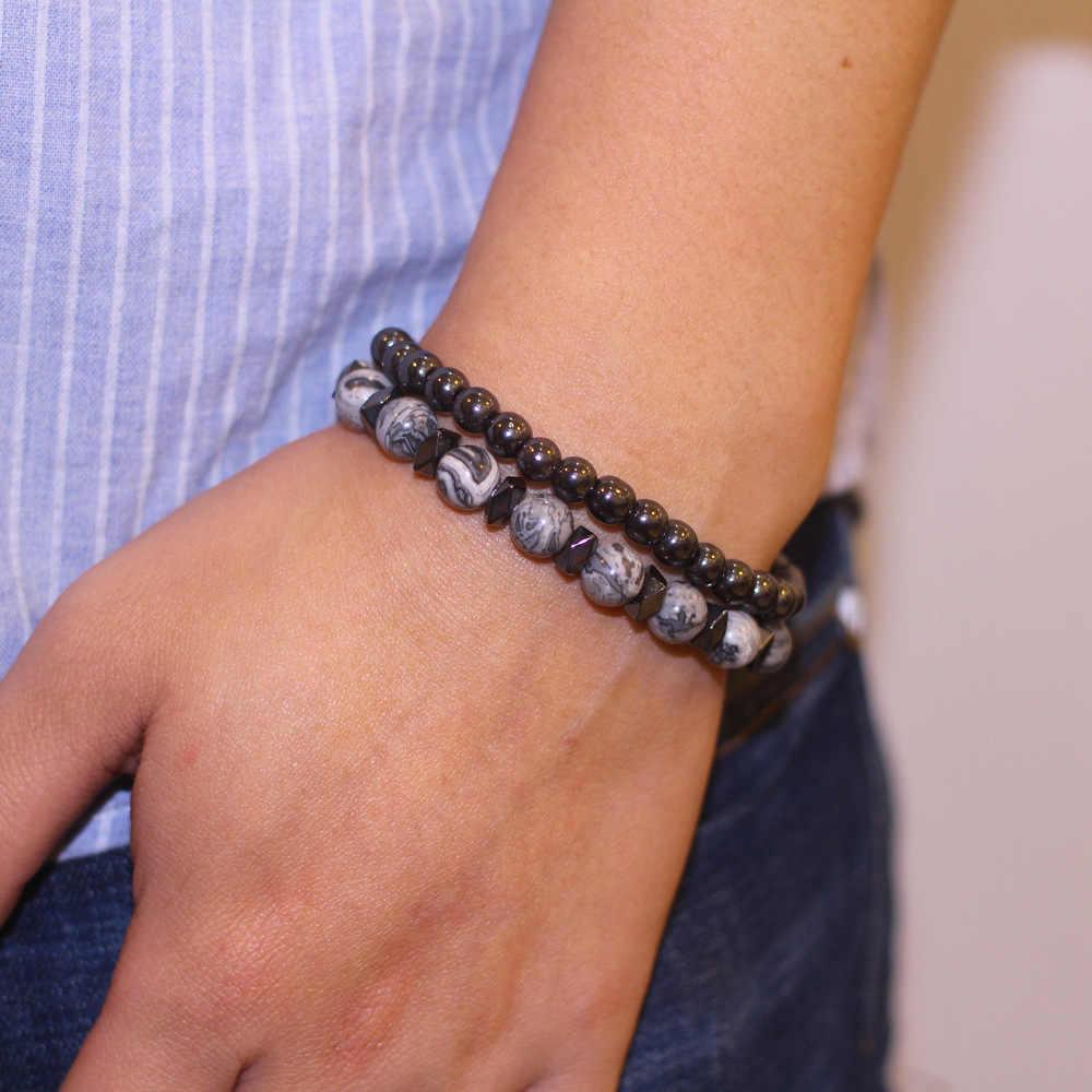 2 pc/sets 6MM y 8MM piedra gris negro Gallstone pulsera distancia pulseras para Mujeres Hombres Natural joyas brazalete con piedras fiesta regalo
