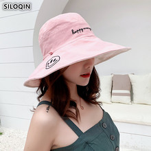 SILOQIN Foldable Elegant Womens Sun Hats Summer Ladies Large Visor Beach Hat 2019 New Fashion Smiley Pattern Caps For Women