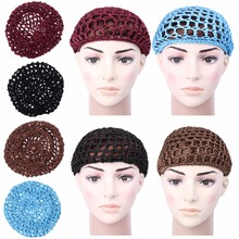 New Arriva Crochet Hair Hat Snoods Mesh Bun Cover Sleeping Beanie Skull Cap Hat Muslim Soft
