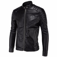 Loldeal Men's Casual Zip Up Slim Bomber Faux Leather Jacket