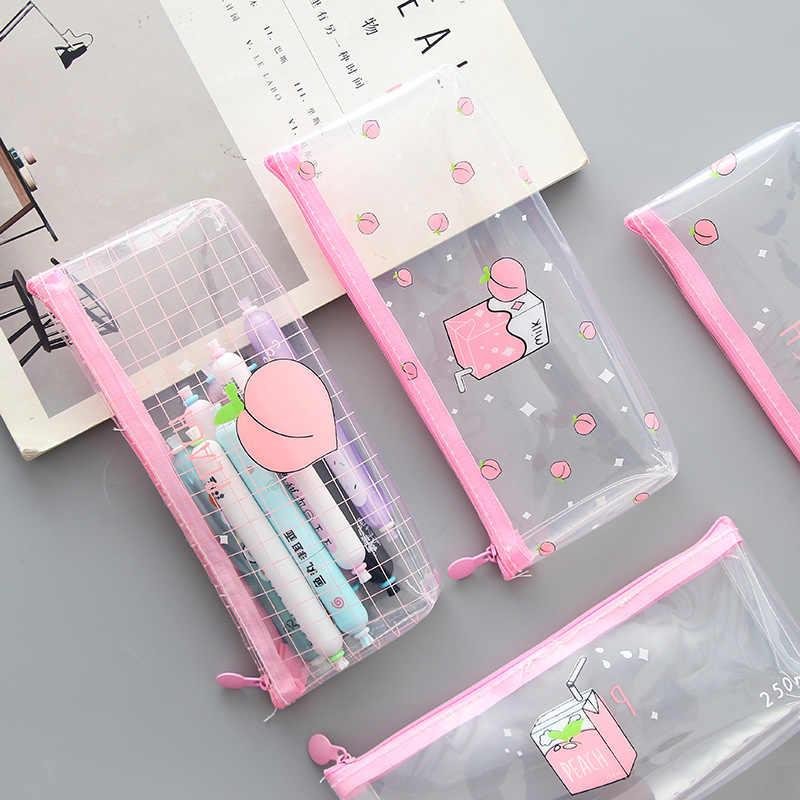 1 Pcs Kawaii Pencil Case Milk Transparent Gift Estuches School Pencil Box Pencilcase Pencil Bag School Supplies Stationery