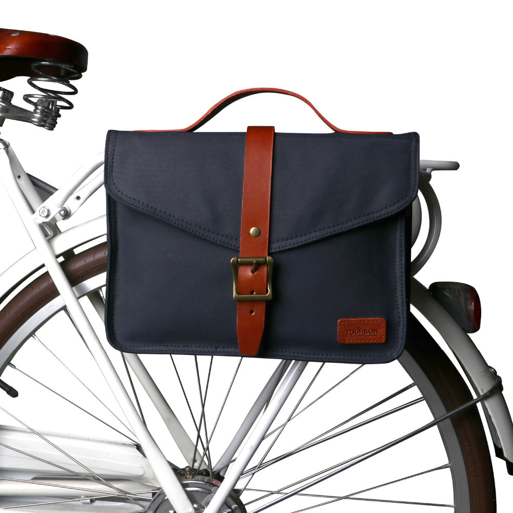 Tourbon Retro Canvas Bike Rear Seat Pannier Bag Bicycle Front Tube Pouch City Tote Cycling Water Repellent Handle Briefcase
